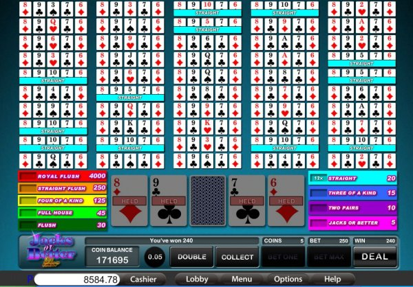 Play 50-Line Jacks or Better Video Poker at Casino.com New Zealand