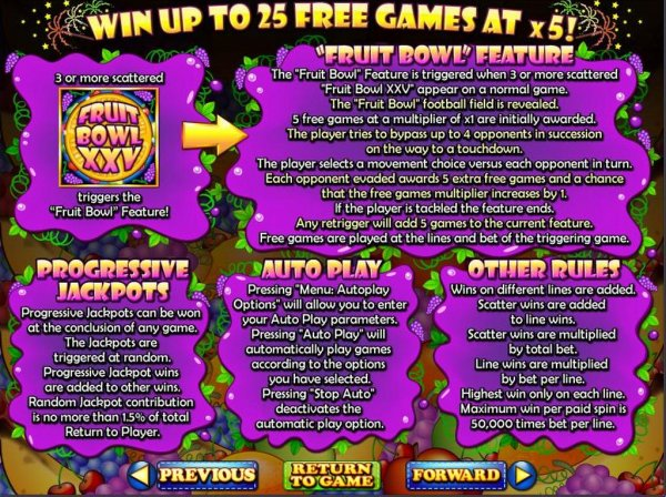Fruit Bowl XXV™ Slot Machine Game to Play Free in Realtime Gamings Online Casinos