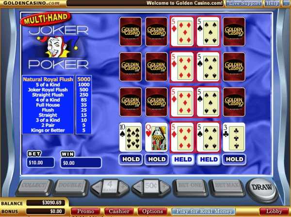 Multi-hand video poker at VT casinos