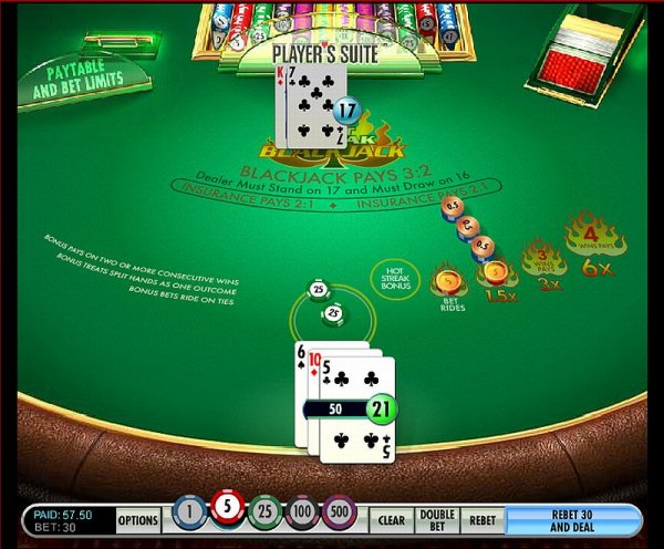 online casino black jack sizzling hot games