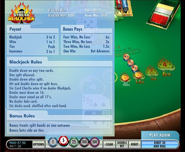 blackjack online casino szizling hot
