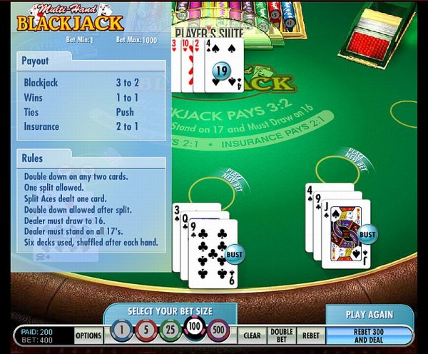Multi Hand Blackjack - 6 Decks - Play Casino Card Games Online ! OnlineCasino Deutschland