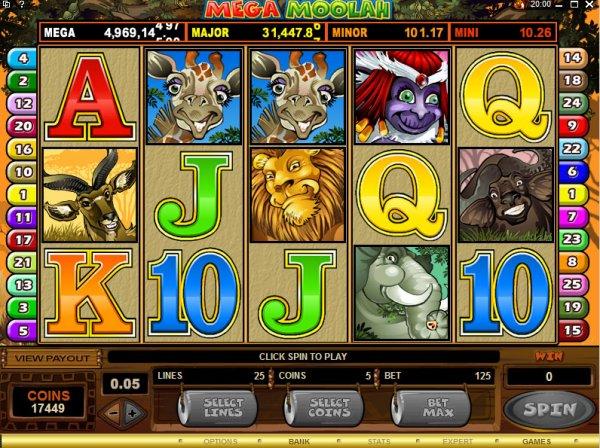 The slots game play of Mega Moohlah