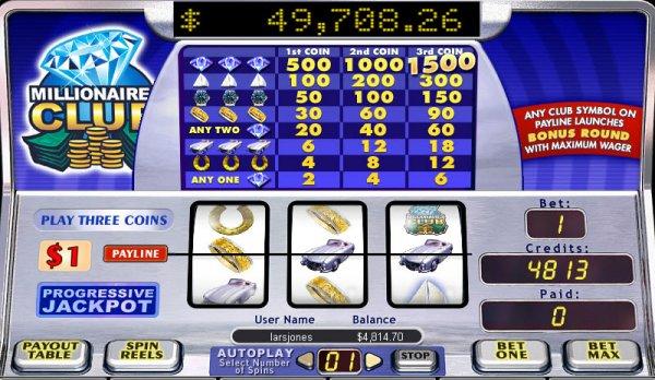 Millionaires Club er en progressiv online spilleautomat