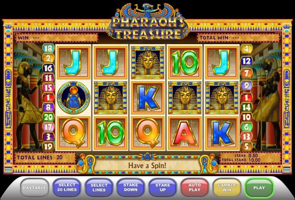 Treasures of the Pharaohs 1 Line Slot - Try for Free Online