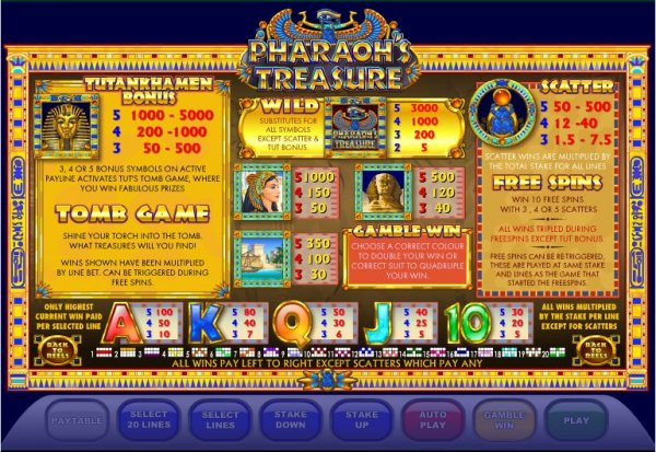 online casino table games pharaoh s