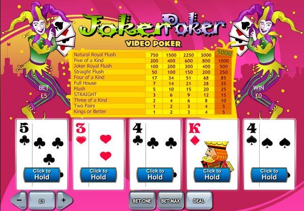 online casino list joker poker