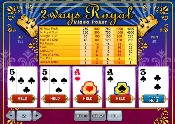 Play 2 Ways Royal Video Poker Online at Casino.com India