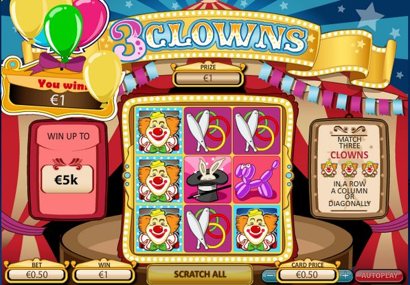 Play 3 Clowns Scratch Cards at Casino.com