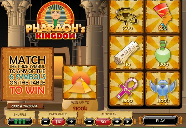 Play Pharaoh's Kingdom Scratch at Casino.com UK
