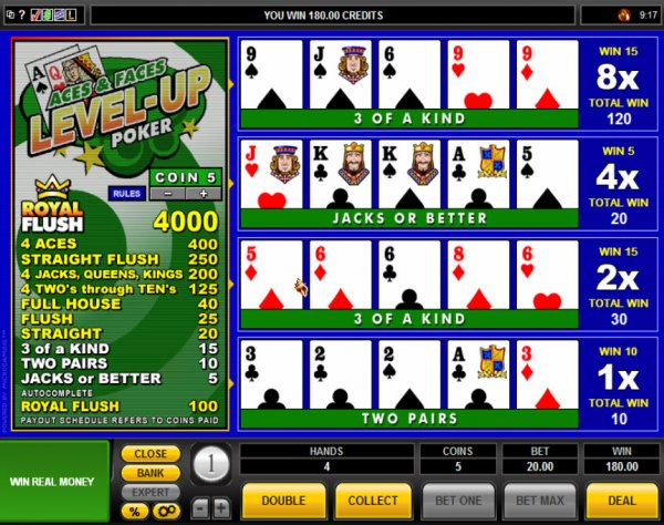 Play Aces and Faces Videopoker Online at Casino.com NZ