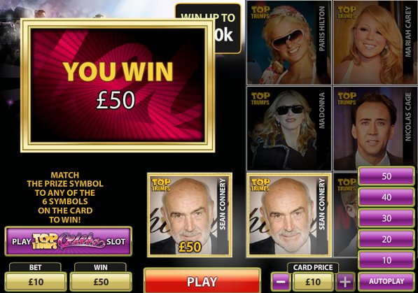 Play Top Trumps Celebs Scratch Online at Casino.com NZ
