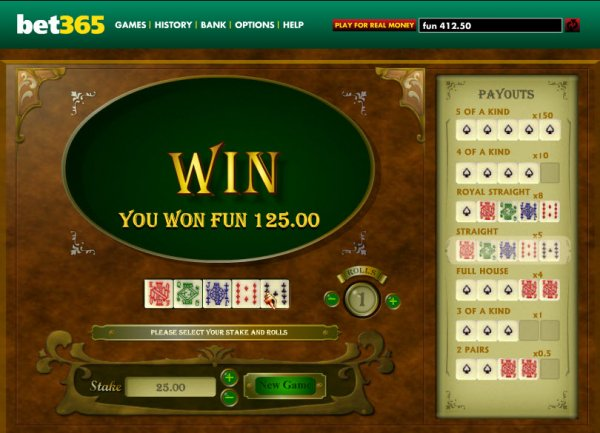 online casino video poker dice and roll