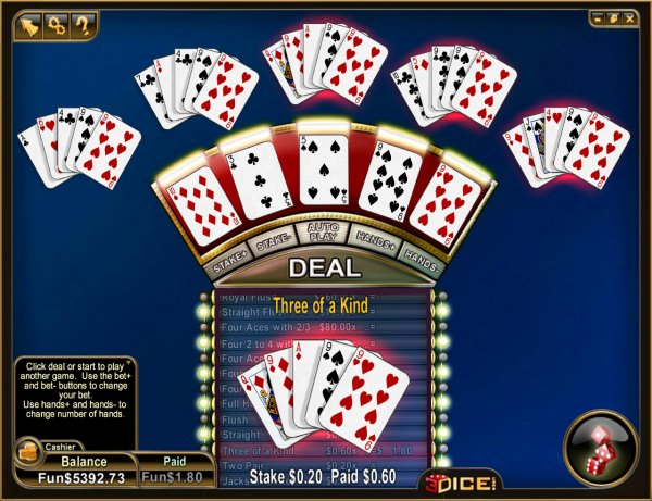 3 5 and 10 hand poker with multiplier