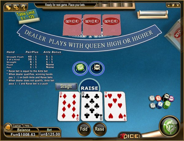 3 card poker pair plus odds