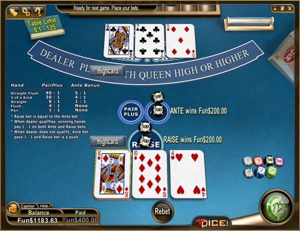 three cards poker online