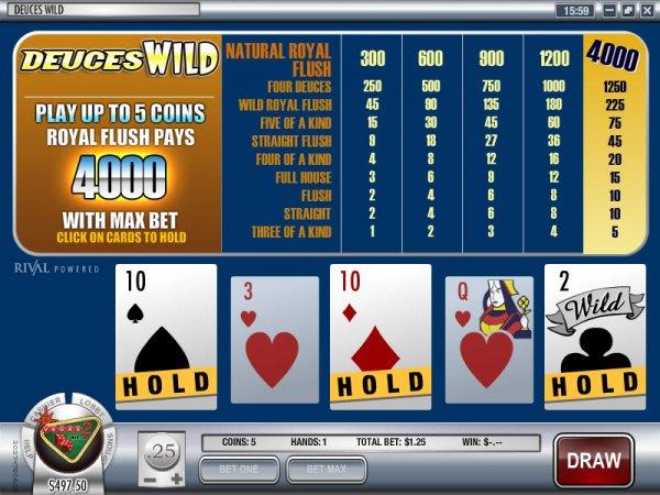 free 5 card draw poker deuces wild