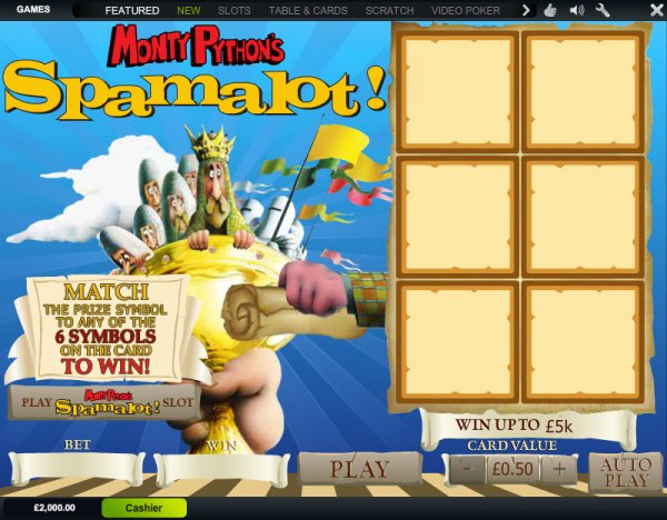 Play Spamalot Scratch Online at Casino.com NZ