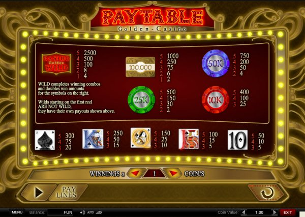 online casino list golden casino games