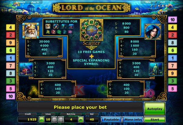 online casino euro lord of the ocean
