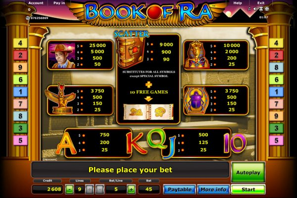 online casino list games book of ra