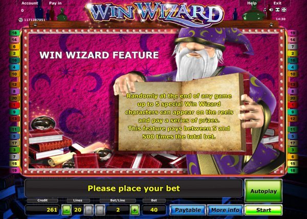 online casino game wizards win