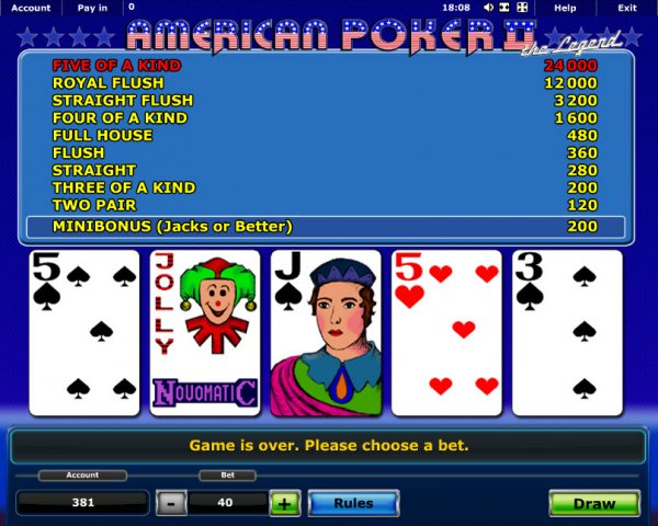 online casino game american poker ii