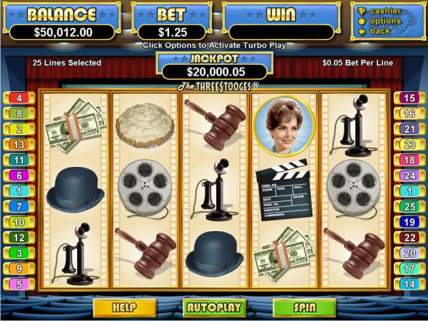 Picture of the action and symbols of 3 Stooges Slots