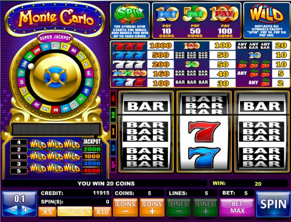 Monte carlo casino slot machines